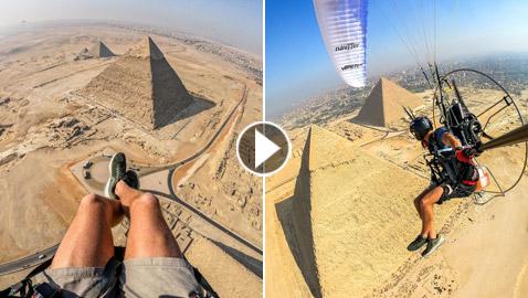فيديو يخطف الأنفاس: مغامر إسباني يصور أهرامات الجيزة المصرية من علو