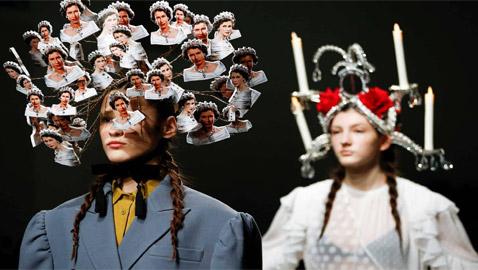 صور: عرض أزياء لتصاميم تثبت على الرأس في أسبوع لندن للموضة