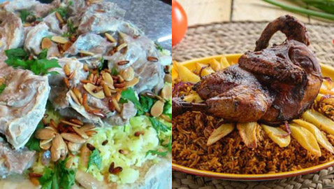 من أشهر الأكلات السعودية: كبسة، مندي، ربيان، قوزي منسف وعصيدة